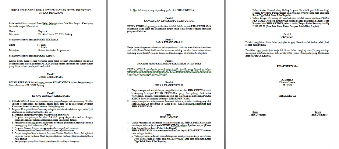 Kontrak Kerja Freezchas Blog